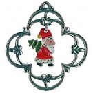 Santa and Tree Swinging Ornament Pewter Ornament
