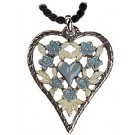 Pewter Heart Necklace with Blue Flowers