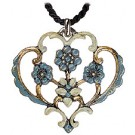 4 Blue Flowers Pewter Necklace
