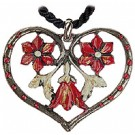 3 Red Flowers Pewter Necklace