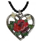 Heart with Rose pewter necklace