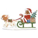 Santa Teddy in Dog Sled