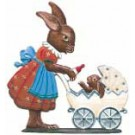 Bunny Pushing Carriage