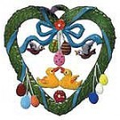 Schweizer Ducks in Spring Heart Ornament