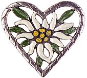 Flower in Heart Pewter Pin