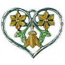 Heart Framed Yellow Flowers Pewter Ornament