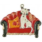 Cat on Couch Pewter Ornament