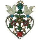Flower Heart with Doves Pewter Ornament