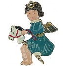 Hobby Horse Baby Angel Pewter Ornament