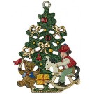 Christmas tree and rocking horse pewter ornament
