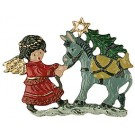 Angel with Donkey Pewter Ornament