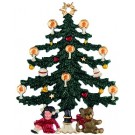 Tree with Doll and Teddy Pewter Christmas Ornament