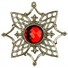 Pewter Tree Ornament with Red stone - Style 1
