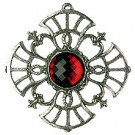Pewter Tree Ornament with Red stone - Style 3