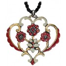 4 flowers (red & blue) pewter necklace