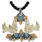 Doves in Blue Pewter Necklace