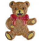 Bear with Red Bow Pin