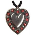 Small Red Flowers Pewter Necklace