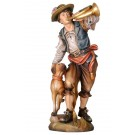 Hunter and Horn Wooden Figurine