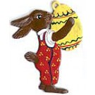 Schweizer Standing Bunny with Large Egg Ornament