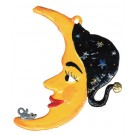 Halloween Moon with Black Cap Pewter Ornament